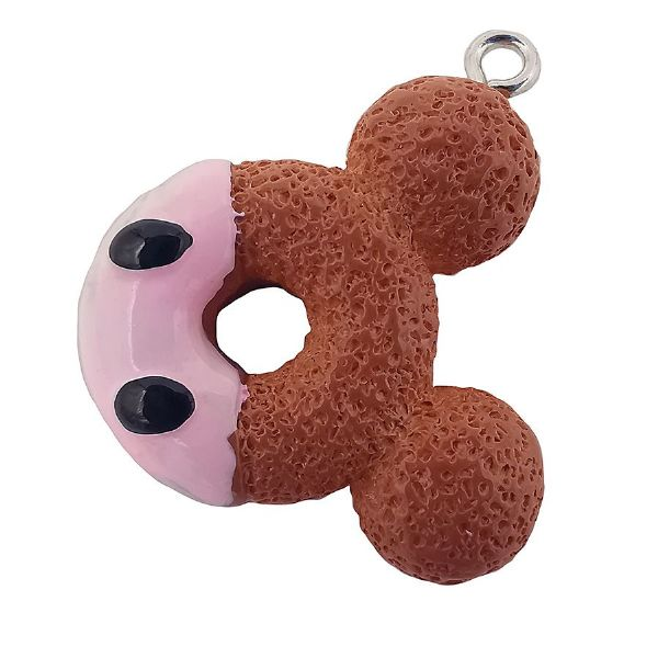 Acrylic Dipped Bear Doughnut, Pink & Brown 22x22mm